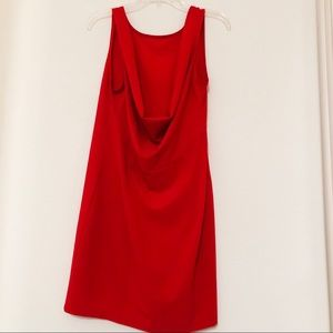Red Cowl Back Dress